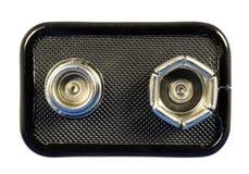 de bovenkant van de 9 voltbatterij Stock Afbeelding