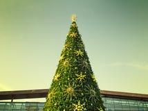 De bovenkant van de Kerstboom met een gefiltreerde hemel in backgro Royalty-vrije Stock Afbeeldingen