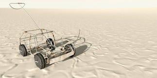 De Bovenkant van draadtoy car in the desert Stock Afbeelding
