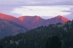 De bovenkanten van de berg in de avond Stock Foto