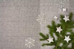 De bovenkantmening van de Kerstmislijst De textuurachtergrond van het linnentafelkleed Royalty-vrije Stock Foto's