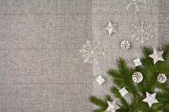 De bovenkantmening van de Kerstmislijst De textuurachtergrond van het linnentafelkleed Royalty-vrije Stock Afbeeldingen
