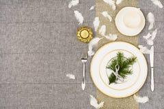 De bovenkantmening van de Kerstmislijst De textuurachtergrond van het linnentafelkleed Royalty-vrije Stock Foto