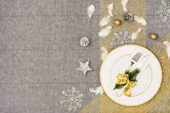 De bovenkantmening van de Kerstmislijst De textuurachtergrond van het linnentafelkleed Royalty-vrije Stock Afbeelding