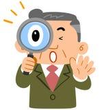 De bovenste helft van de middenleeftijd van de zakenman verraste bij peering in het vergrootglas royalty-vrije illustratie
