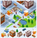 De Boxen van het voedsel en sommige gebouwen royalty-vrije illustratie