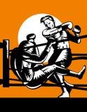 De boxeur de coup de grâce adversaire à l'extérieur illustration stock