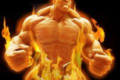 De boze bodybuilderkerel toont het stellen met vlammend concept royalty-vrije stock afbeeldingen
