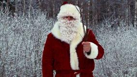De boze Kerstman met berk stock videobeelden