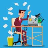 De boze Manager Siting At Table verfrommelt het Document en het Werpen van het in Document Mandvector Geïsoleerdeo illustratie royalty-vrije illustratie