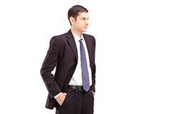 De boze mens in kostuum met dient zakkenschot tijdens in debatteert Royalty-vrije Stock Foto