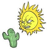 De boze zon en de cactus trekken Stock Foto's