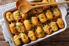 De braadpan van Tater-Peuters met kaas en de kruiden sluiten omhoog in een baki royalty-vrije stock foto