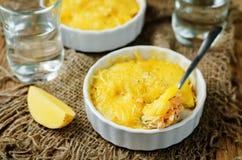 De braadpan van de zalmaardappel met glazen water stock afbeelding