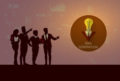 De Brainstorming van de de Opleidingsconferentie silhouet van Bedrijfsmensenteam meeting new idea seminar royalty-vrije illustratie