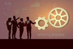 De Brainstorming van de de Opleidingsconferentie silhouet van Bedrijfsmensenteam meeting working process seminar vector illustratie