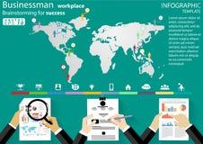 De Brainstorming van de zakenmanwerkplaats voor succes die het moderne Idee en Concepten Vectormalplaatje van illustratieinfograp royalty-vrije illustratie