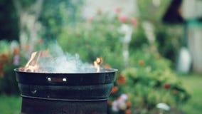 De brand brandt brandhout in een ronde barbecue, in openlucht in de loop van de dag stock footage
