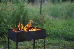 De brand in de grill Royalty-vrije Stock Fotografie