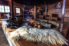 De brand in de oven stock foto