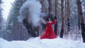 De brand en de rook nemen onder de bomen in het bos toe dichtbij het meisje met een kraai stock videobeelden