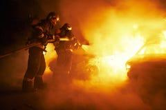 De brand in het parkeerterrein Royalty-vrije Stock Fotografie