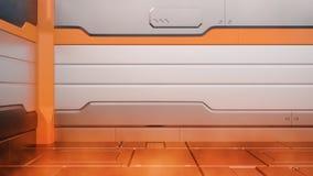 De brand sc.i-FI beschadigde metaal 3d gangachtergrond teruggeeft stock illustratie