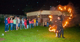 De brand toont, nacht Stock Afbeelding