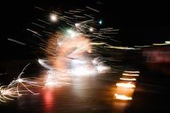 De brand toont op de straat voor een vakantie royalty-vrije stock foto