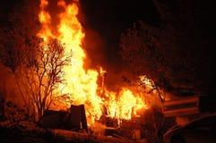 De Brand van de nacht Stock Afbeeldingen