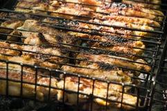 De brand van de vleesbarbecue Royalty-vrije Stock Fotografie
