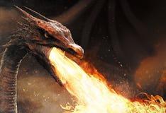 De brand van het draakspuwen Royalty-vrije Stock Afbeeldingen