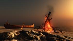 De Brand van het kamp bij Zonsondergang Stock Afbeelding