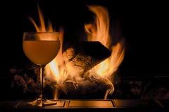 De Brand van het wijnglas stock fotografie