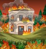 De brand vernietigt herenhuisachtergrond royalty-vrije illustratie