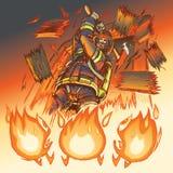 De brandbestrijder bestrijdt brand met een bijl Stock Afbeeldingen