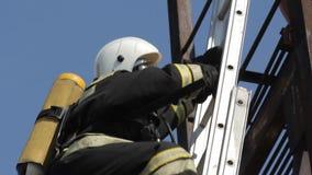 De brandbestrijders beklimmen op de ladder stock footage