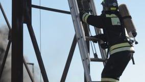 De brandbestrijders beklimmen op de ladder in een brand stock footage