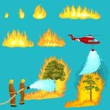 De brandbestrijders in beschermende kleding en helm met helikopter doven met water van slangen gevaarlijke wildfire stock illustratie