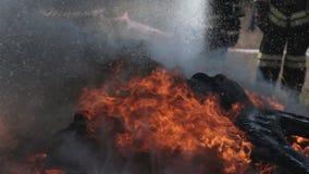De brandbestrijders doven een brand met waterstraal stock video