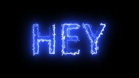 De brandende 3d brieven van Hey-tekst, geven achtergrond terug, computer die voor creatief produceren stock illustratie