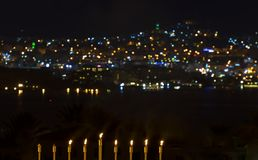 De brandende kaarsen zijn traditioneel symbool voor Hebreeuwse Vakantie Royalty-vrije Stock Afbeelding