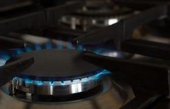 De brander van de het gashaardplaat van de keuken stock afbeeldingen