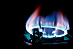 De brander van de keuken op dark Stock Afbeeldingen