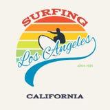 De brandingsillustratie van Californië, vectoren, t-shirtgrafiek Stock Fotografie