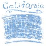De brandingstypografie van Californië, het ontwerpgrafiek van de t-shirtdruk, vectoraffiche, het Etiket van Kentekenapplique Stock Afbeeldingen