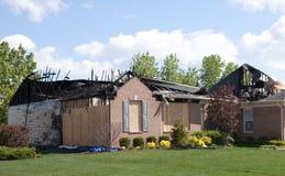 De brandschade van het huis Stock Afbeelding