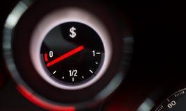 De brandstofmaat van het dollarteken Stock Foto