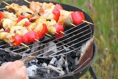 De brandvlammen die van het vuurkampvuur lapje vlees op BBQ roosteren Stock Afbeeldingen