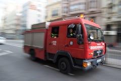 De Brandvrachtwagen van Madrid Stock Foto's